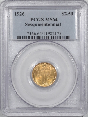 $2.50 1926 $2.50 SEQUICENTENNIAL COMMEMORATIVE GOLD – PCGS MS-64