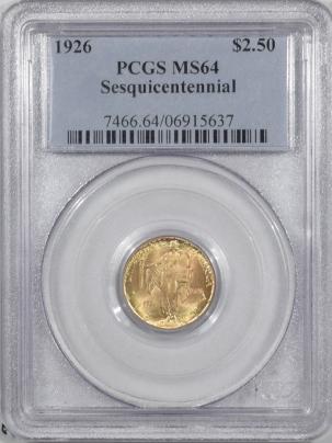 $2.50 1926 $2.50 SESQUICENTENNIAL COMMEMORATIVE GOLD – PCGS MS-64