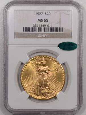 $20 1927 $20 ST GAUDENS GOLD – NGC MS-65 TRUE GEM! PQ! CAC APPROVED!