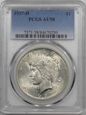 New Certified Coins 1927-D PEACE DOLLAR – PCGS AU-58 LOOKS UNC!