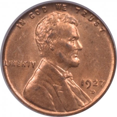 Lincoln Cents (Wheat) 1927-D LINCOLN CENT – PCGS MS-64 RD, FULL RED TOUGH!