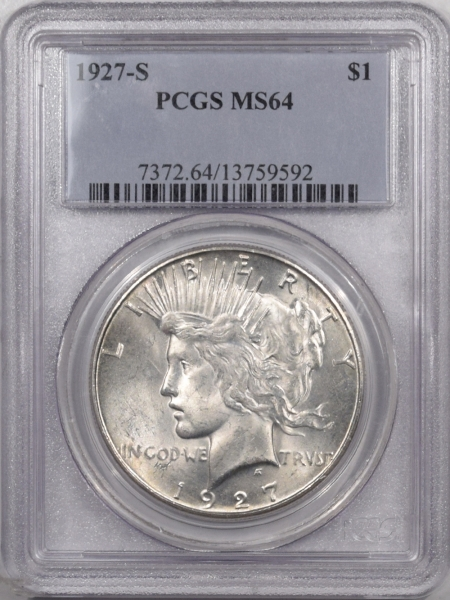 New Certified Coins 1927-S PEACE DOLLAR – PCGS MS-64 ORIGINAL WHITE & NICE!