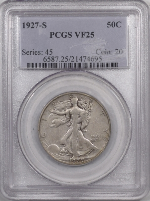 New Certified Coins 1927-S WALKING LIBERTY HALF DOLLAR – PCGS VF-25