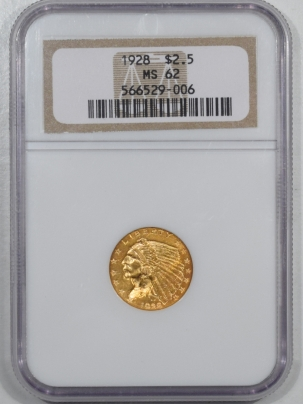 New Certified Coins 1928 $2.50 INDIAN HEAD GOLD – NGC MS-62