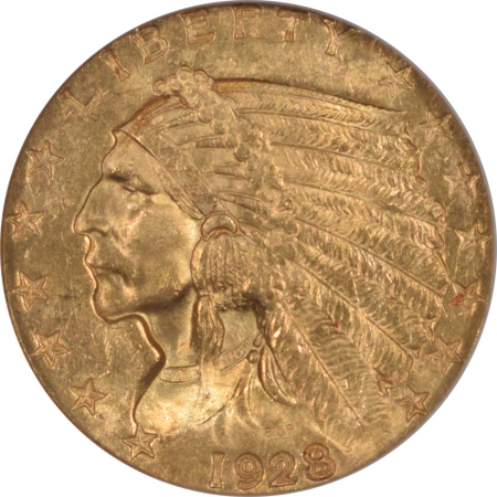 New Certified Coins 1928 $2.50 INDIAN HEAD GOLD – NGC MS-63