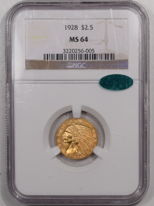 CAC Approved Coins 1928 $2.50 INDIAN GOLD QUARTER EAGLE NGC MS-64 CAC, FLASHY & PQ!
