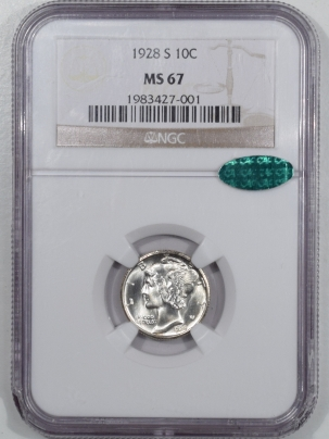 CAC Approved Coins 1928-S MERCURY DIME – NGC MS-67 BLAST WHITE, PQ & CAC APPROVED!
