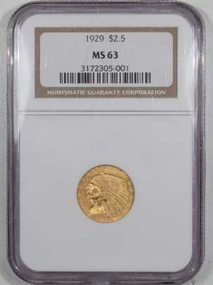 $2.50 1929 $2.50 INDIAN HEAD GOLD – NGC MS-63