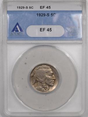 Buffalo Nickels 1929-S BUFFALO NICKEL – ANACS EF-45