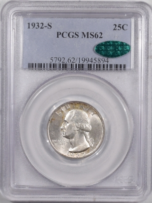 CAC Approved Coins 1932-S WASHINGTON QUARTER – PCGS MS-62 FRESH, PREMIUM QUALITY & CAC APPROVED!