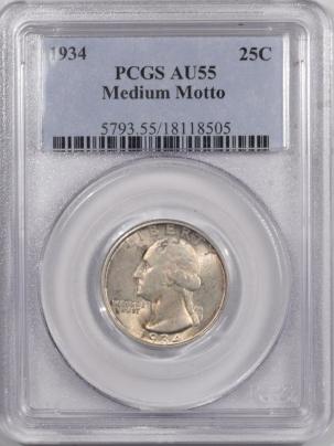 New Certified Coins 1934 WASHINGTON QUARTER – MEDIUM MOTTO – PCGS AU-55