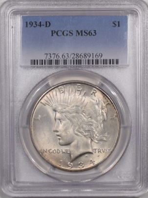 New Certified Coins 1934-D PEACE DOLLAR – PCGS MS-63, PQ!