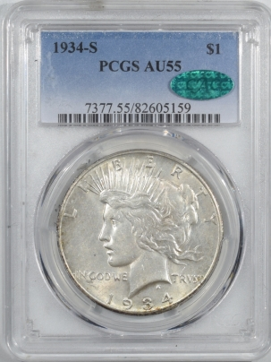 CAC Approved Coins 1934-S PEACE DOLLAR PCGS AU-55 CAC, FRESH, WELL STRUCK & PQ! KEY DATE