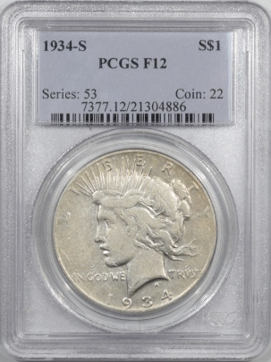 New Certified Coins 1934-S PEACE DOLLAR – PCGS F-12