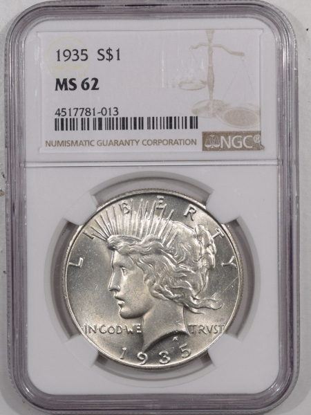 New Certified Coins 1935 PEACE DOLLAR – NGC MS-62