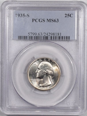 New Certified Coins 1935-S WASHINGTON QUARTER – PCGS MS-63 FLASHY!