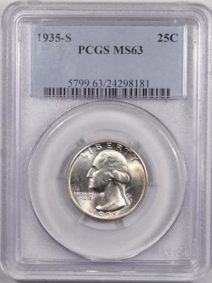 New Certified Coins 1935-S WASHINGTON QUARTER – PCGS MS-63 FLASHY!