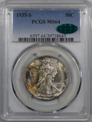 CAC Approved Coins 1935-S WALKING LIBERTY HALF DOLLAR – PCGS MS-64 PRETTY, PQ & CAC APPROVED!