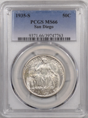 New Certified Coins 1935-S SAN DIEGO COMEMMORATIVE HALF DOLLAR – PCGS MS-66