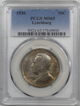 New Certified Coins 1936 LYNCHBURG COMMEMORATIVE HALF DOLLAR PCGS MS-65 GORGEOUS