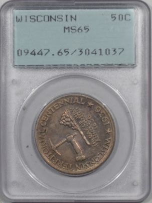 Early Commems 1936 WISCONSIN COMMEMORATIVE HALF DOLLAR PCGS MS-65, RATTLER HOLDER, PRETTY!