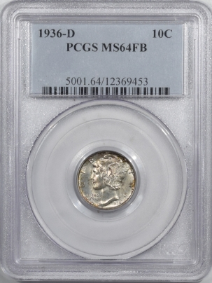 Mercury Dimes 1936-D MERCURY DIME – PCGS MS-64 FB FRESH!