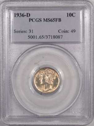 Coin World/Numismatic News Featured Coins 1936-D MERCURY DIME – PCGS MS-65 FB