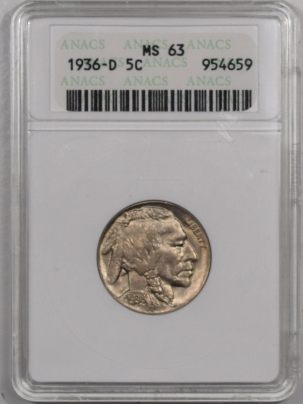 New Certified Coins 1936-D BUFFALO NICKEL – ANACS MS-63 PREMIUM QUALITY!