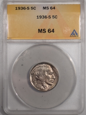 New Certified Coins 1936-S BUFFALO NICKEL – ANACS MS-64
