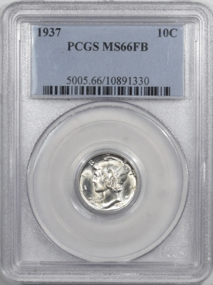 Dimes 1937 MERCURY DIME PCGS MS-66 FB, BLAST WHITE