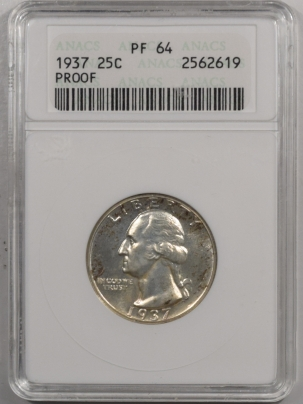 Coin World/Numismatic News Featured Coins 1937 PROOF WASHINGTON QUARTER – ANACS PF-64 FRESH!
