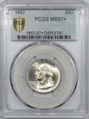 New Certified Coins 1937 WASHINGTON QUARTER – PCGS MS-67+ PRISTINE TOP POP!