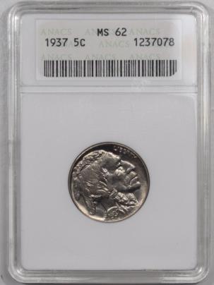 Buffalo Nickels 1937 BUFFALO NICKEL – ANACS MS-62