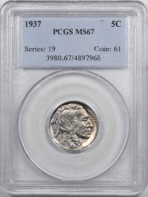 New Certified Coins 1937 BUFFALO NICKEL – PCGS MS-67