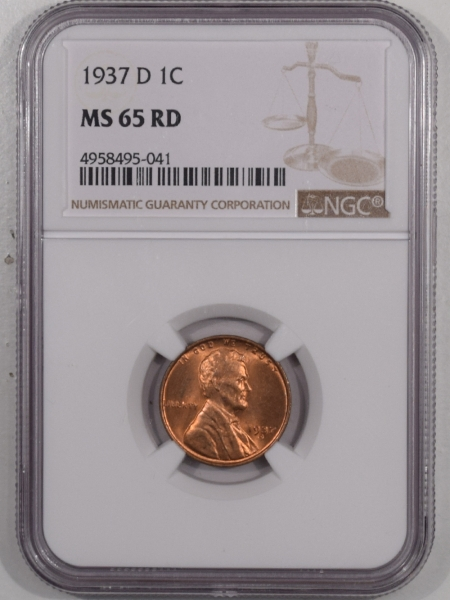 Lincoln Cents (Wheat) 1937-D LINCOLN CENT – NGC MS-65 RD