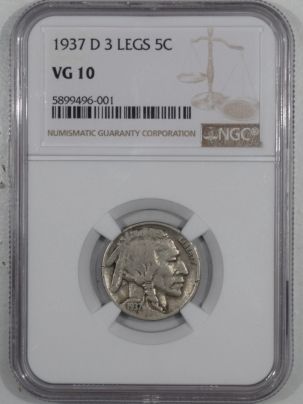 New Certified Coins 1937-D BUFFALO NICKEL 3 LEGS NGC VG-10, KEY DATE