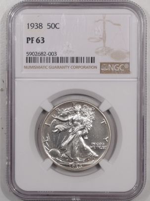 New Certified Coins 1938 PROOF WALKING LIBERTY HALF DOLLAR – NGC PF-63
