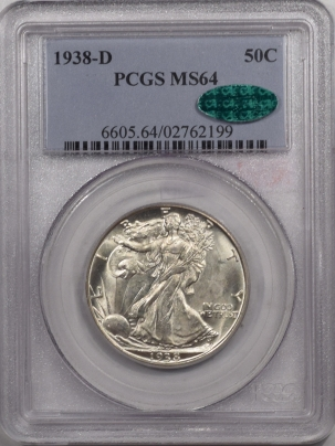 CAC Approved Coins 1938-D WALKING LIBERTY HALF DOLLAR – PCGS MS-64 FLASHY PREMIUM QUALITY CAC!