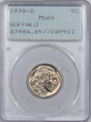 Buffalo Nickels 1938-D BUFFALO NICKEL – PCGS MS-65 RATTLER & PREMIUM QUALITY!