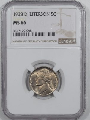 Jefferson Nickels 1938-D JEFFERSON NICKEL – NGC MS-66