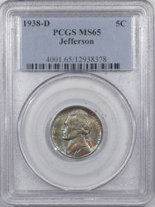 Jefferson Nickels 1938-D JEFFERSON NICKEL – PCGS MS-65 WILD COLOR!