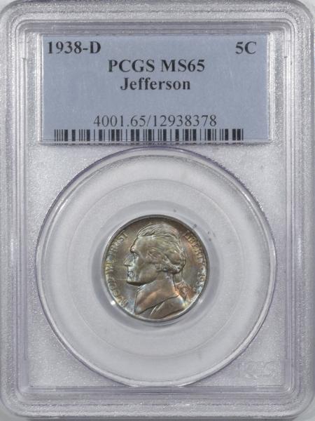 Jefferson Nickels 1938-D JEFFERSON NICKEL – PCGS MS-65 WILD COLOR!