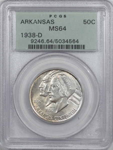 New Certified Coins 1938-D ARKANSAS COMMEMORATIVE HALF DOLLAR – PCGS MS-64 OLD GREEN HOLDER, PQ!