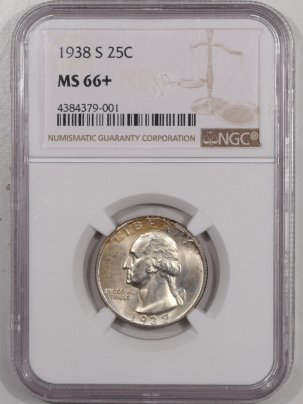 Coin World/Numismatic News Featured Coins 1938-S WASHINGTON QUARTER – NGC MS-66+ FRESH NEAR SUPERB!