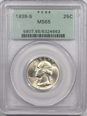 New Certified Coins 1938-S WASHINGTON QUARTER – PCGS MS-65 OLD GREEN HOLDER & PREMIUM QUALITY!