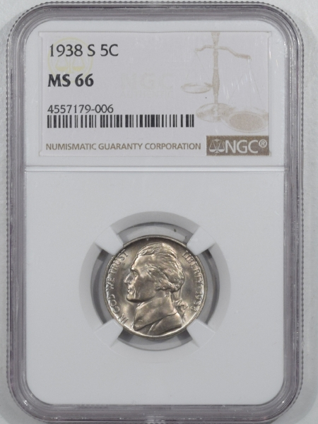 New Certified Coins 1938-S JEFFERSON NICKEL – NGC MS-66