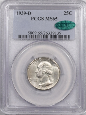 CAC Approved Coins 1939-D WASHINGTON QUARTER – PCGS MS-65 FRESH, PREMIUM QUALITY & CAC APPROVED!