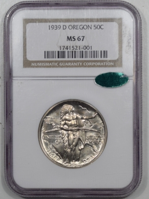 CAC Approved Coins 1939-D OREGON COMMEMORATIVE HALF DOLLAR NGC MS-67 CAC, PRETTY & PQ++!