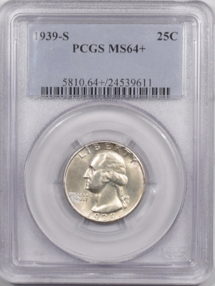 New Certified Coins 1939-S WASHINGTON QUARTER – PCGS MS-64+ PREMIUM QUALITY & WHITE!
