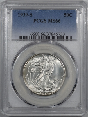 Coin World/Numismatic News Featured Coins 1939-S WALING LIBERTY HALF DOLLAR – PCGS MS-66 PREMIUM QUALITY!
